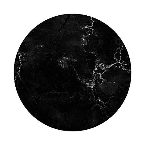 Mauspad Marmor-Look I Ø 22 cm rund I Mousepad in Standard-Größe, rutschfest I schlicht modern I Stein-Optik Granit schwarz weiß I dv_335