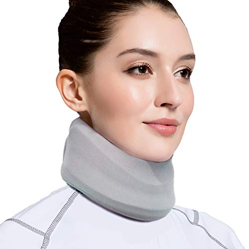 VELPEAU Neck Brace for Neck Pain and Support - Soft Cervical Collar for Sleeping - Vertebrae Whiplash Wrap Aligns, Stabilizes & Relieves Pressure in Spine for Women & Men (Stabilized, Grey, Medium 3″)