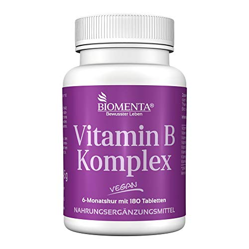 BIOMENTA Vitamin B Komplex - B-Vitamine hochdosiert mit 300% NRV je Tablette – vegan - 6 Monatskur - 180 Vitamin-B-Tabletten