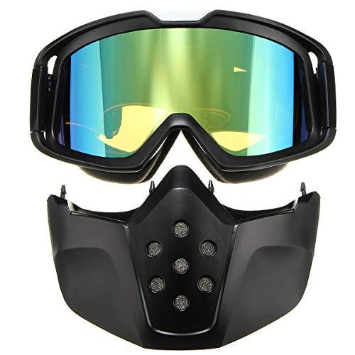 RongDuosi Motorfiets-skihelm groen afneembare veiligheidsbril gezichtsmasker schild mondfilter motoronderdelen motorbril
