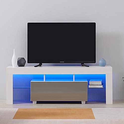 Led TV Cabinets, PALDIN TV Entertainment Unit 130cm Modern Media Television Stand Multi-colour LED RGB Lights With Large Media Storage Drawer For Living Room (Grey+White)