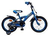 AMIGO BMX Turbo - Kinderfahrrad für Jungen - 16 Zoll - mit Handbremse, Rücktritt, Lenkerpolster und Stützräder - ab 4-6 Jahre - Blau