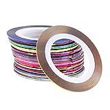 30 pezzi 30 colori rotoli striscia di nastro linea nail art decorazione adesivi per punte punte strumento per unghie fai da te per ragazze ragazze