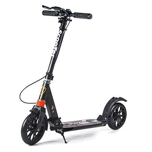 Patinetes Kick Scooter Plegable con Freno de Mano y Ruedas Grandes, Altura Ajustable, para niñas Adultas niños Adolescentes, admite 120 kg (Color : Negro)
