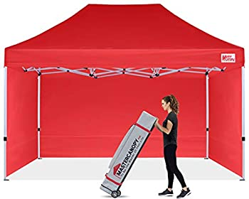 MASTERCANOPY Durable Pop-up Canopy Tent 10x15 Heavy Duty Instant Canopy with Sidewalls  Red