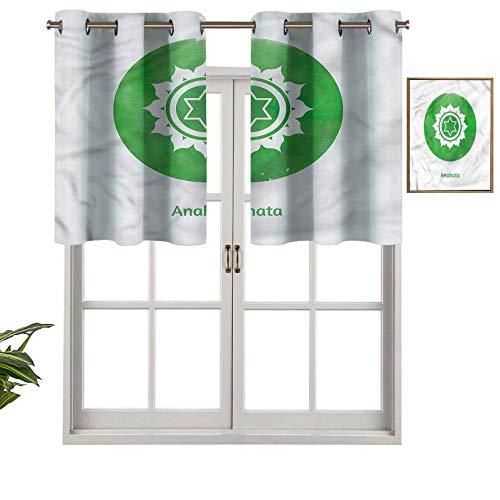 """Hiiiman Cortinas cortas, protección de privacidad, con forma de corazón y chakras con texto en inglés """"Self Love"""", juego de 2, 137 x 61 cm, cortinas para ventana de baño, cocina, sala de estar"""