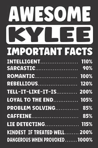 AWESOME KYLEE IMPORTANT FACTS: Funny Personalized Gifts - Lined Notebook (Card Alternative)
