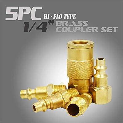 """XtremepowerUS 5Pc 1/4"""" Air Hose Quick Coupler Connectors Set"""