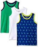 Amazon Essentials   Boys' 3-Pack Tank Top, Bicycle/White/Green M (8)