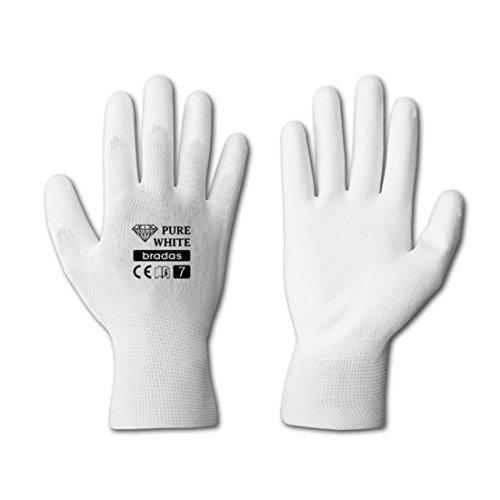 12 Paar Arbeitshandschuhe weiß PU Malerhandschuhe Sicherheitshandschuhe Handschuhe Schutzhandschuhe Gr. 11
