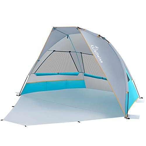 WolfWise 2-3 Person UPF 50+ Portable Beach Canopy Tent Sun Shade Umbrella with Extendable Floor