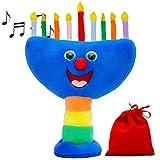 Aviv Judaica Plush Hanukkah Menorah - Musical Menorah Plays 2 Classic Hanukkah Melodies Includes Removable Candles & Candle Bag