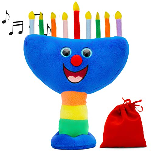 Aviv Judaica Plush Hanukkah Menorah - Musical Menorah Plays 2 Classic Hanukkah Melodies Includes Removable Candles & Candle Bag