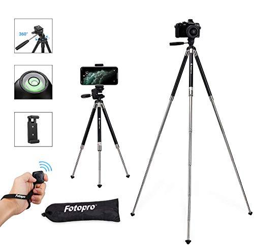"""Fotopro Handy Stativ iPhone Stativ Kamera Stativ [2020 Upgraden Material] 39.5\"""" Aluminum Leichtes Reisestativ mit Bluetooth Fernbedienung und Handy Halterung, Smartphone Stativ für Kamera"""