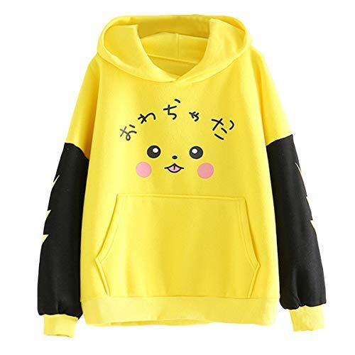 Sudadera con Capucha y Forro Polar de Pikachu Sudadera con Capucha y Bolsillo de Color Block de Teen Girl