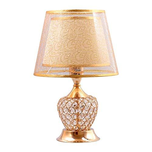 & tafellamp Europese slaapkamer bedlampje tafellamp Nordic Home Warm creatieve bruiloft kamerdecoratie lamp kristal tafellamp bedlampje (kleur: goud)