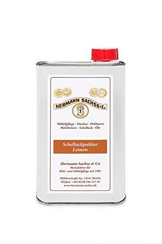 Hermann Sachse Schellack Politur Lemon wachshaltig 500ml gebrauchsfertig für die Schellackpolitur aus Flocken Blätterschellack