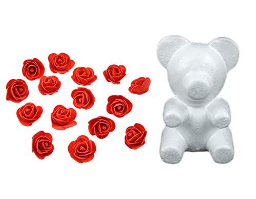 Yalulu Modellierung Styropor Weißer Bär Schaum Bälle mit 350 Stück Schaum Blume Rosen Handwerk Für DIY Hochzeits Dekoration (Rot)