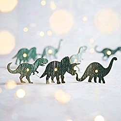 5. Lights4fun Inc Battery-operated Indoor Silver Wire Dinosaur String Lights