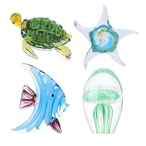 Glazen beeldjes Kleurrijk Sea Life Animal Murano Artwork Crystal Miniture Handcraft Figure Fish Tank Aquarium Decor, Set van 4, Type 2