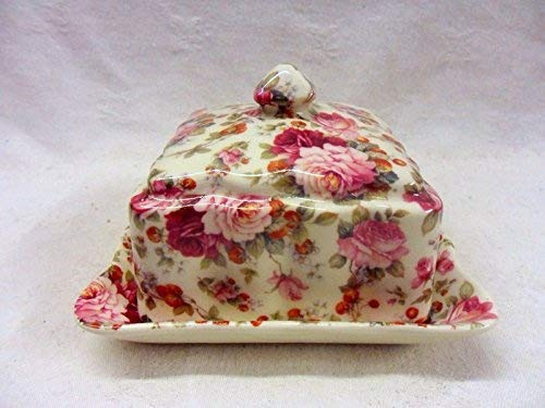 Heron Cross Pottery Carré Couvert à fromages en Fraise Motif Rose