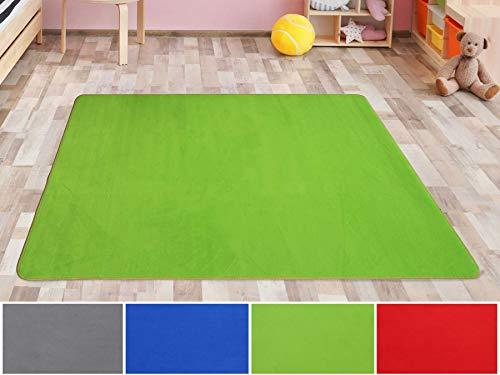 Primaflor - Ideen in Textil Kinderteppich SITZKREIS Grün - 140 x 200 cm, Velour Kurzflor Kinderzimmerteppich Spielteppich Teppich für Kinder