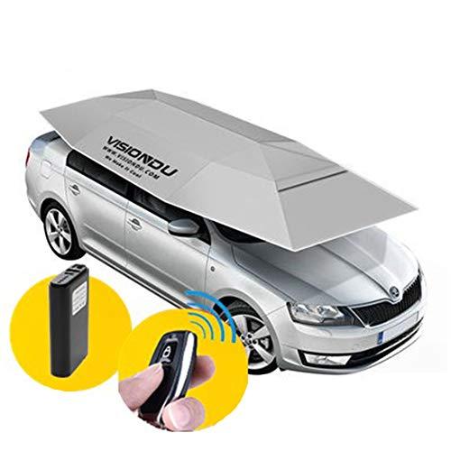 AKT 4.6M Faltbares Automatisches Autozelt Tragbarer Sonnenschirm mit Sonnenschirm wasserdichte Autodachabdeckung mit Kabelloser Steuerung,Silver