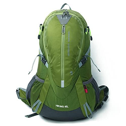 Ynrbeminb Senderismo Nylon Tear Impermeable Professional Mountaining Bag 40l Mochila Deportiva al Aire Libre + Cubierta de Lluvia 1.3kg Green Color 30-40L