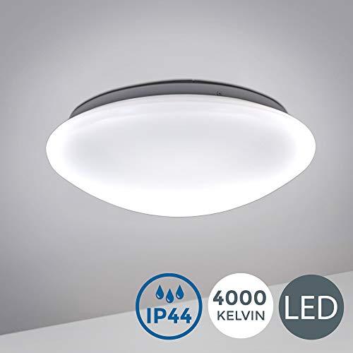 B.K.Licht I 12W LED Badlampe I 4.000K Neutralweiß I 1.200 Lumen I Ø29cm I IP44 Spritzwasserschutz I Badezimmerlampe gewölbt I LED Deckenlampe I Deckenleuchte