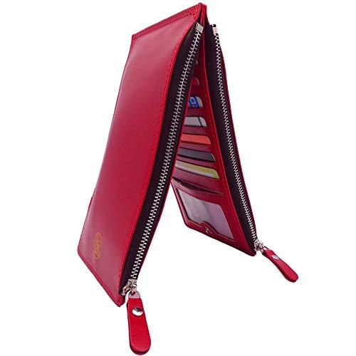 SC SIMOCOM Portafoglio Donna Pelle con Doppia Cerniera – 16 Slot per Tessere, Design Elegante, Confortevole e Robusto, Sicurezza Garantita dalla Protezione RFID e dalle Robuste Cuciture (Rosso)