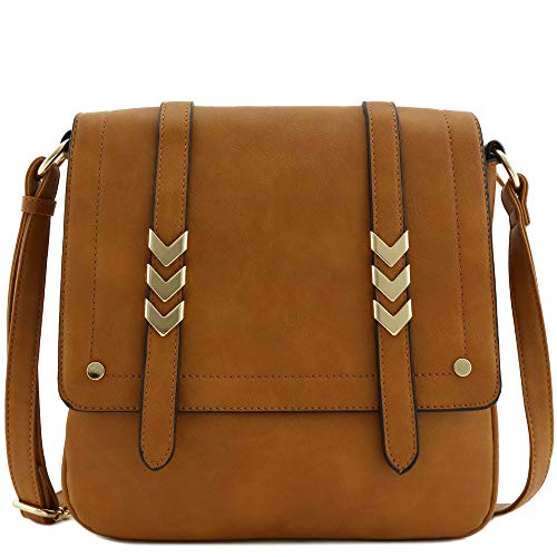 Double Compartment Large Flapover Crossbody Bag (Camel)