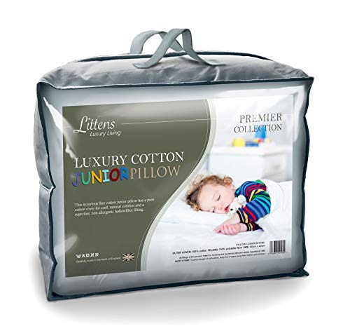 100% Fine Cotton Junior Cot Bed Size Pillow, Hollowfibre, Kids, Toddler (40cm x 60cm) UK Made By Littens