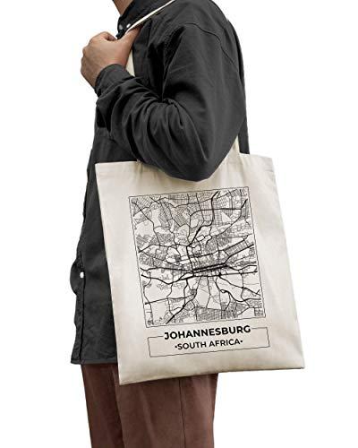 Johannesburgo, Sudáfrica, Mapa de la Ciudad Bolso de Mano de Algodón