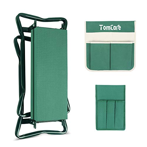 TomCare Garden Kneeler Seat Garden Bench Garden Stools Foldable Stool with Tool Bag Pouch EVA Foam Pad Outdoor Portable Kneeler for Gardening(Large-21.65