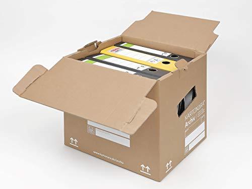 10 Archivboxen KARTONARA Archiv | Archivkartons für Aktenorder A4 | Lagerbox 348x300x351mm bis 250kg stapelbar | diverse Mengen wählbar