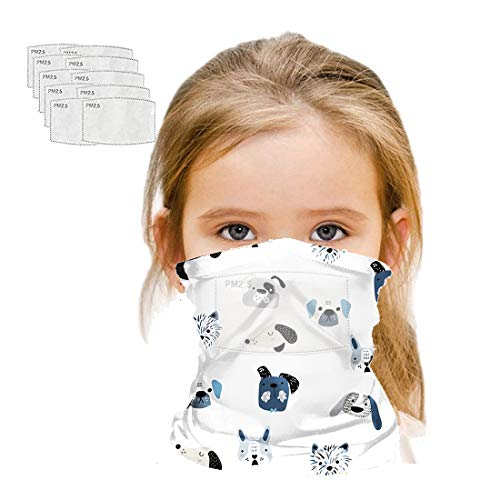 Kids Neck Gaiters Balaclava Bandanas Face Covering with Carbon Filter for Children Summer Neck Gaiter (White dog)