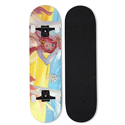 Totots Dibujos animados de arce skateboard cero dos anime doble inclinación patineta querida en el franxx completo monopatín rosa pelo pelo profesional patineta de cuatro ruedas patineta al aire libre