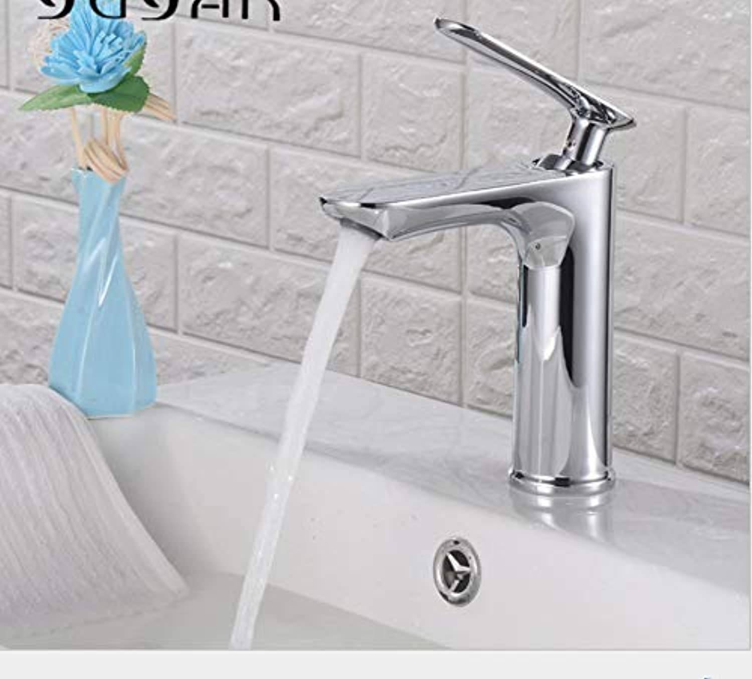 Kitchen Sink Taps Bathroom Sink Taps Copper Basin Washbasin Faucet Built-In Flat Single Hole Hot And Cold Water Mixing Bathroom Faucet