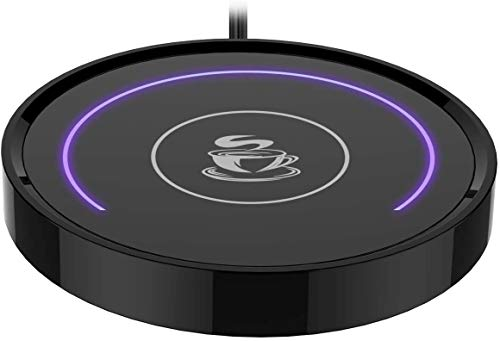Smart Coffee Warmer, BESTINNKITS Auto On/Off Gravity-induction Mug Warmer for Office Desk Use, Candle Wax Cup Warmer Heating Plate (Up To 131F/55C) (purple light)