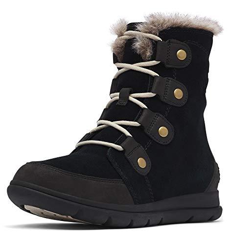 Sorel Women's Explorer Joan Boot - Light Rain, Snow - Waterproof - Black, Dark Stone - Size 9.5