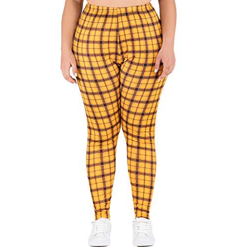 Panty's, joggingbroek, brede broeken, broeken vrouwen plus maten elastische taille drukvrije tijd hoge taille gamassen lange broek X-Large geel