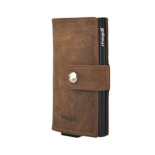 Premium Herren Portmonee RFID Schutz Kartenetui Business Geldbörse feinstes A++ Echtleder mogdi Nano Mini Duo Wallet Geldbeutel (schwarz, Mini)