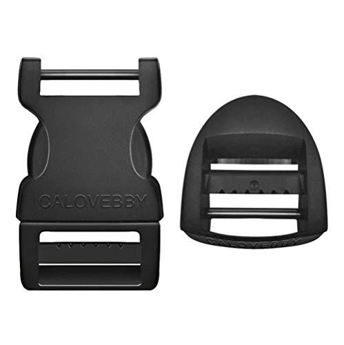 Field Repair Buckles - Mythfly Adjustable Two-Pin Side Release Buckle Ladderlock 1 Inch Flat Release Buckles for Straps Backpack Bag Webbing Belt Dog Collars (Black)