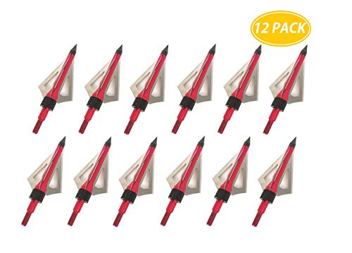 Razer Express Archery Broadheads 100 Grain 12 Pack 3 Fixed Blades Hunting Broadheads Screw-in Arrow Tips for Crossbow Recurve Bow and Compound Bow