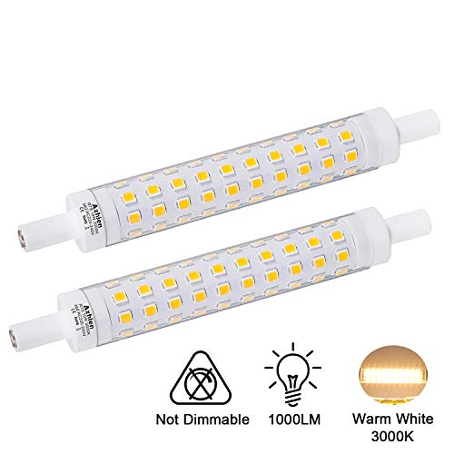 Azhien LED R7S 118mm Lampe 10W nicht Dimmbar,J118 Lineare Leuchtmittel Warmweiß 3000K, 10 Watt, Entspricht 48W 60W 75W Halogenlampe, 230V AC, 1000LM, 360 Grad, 2er-Pack