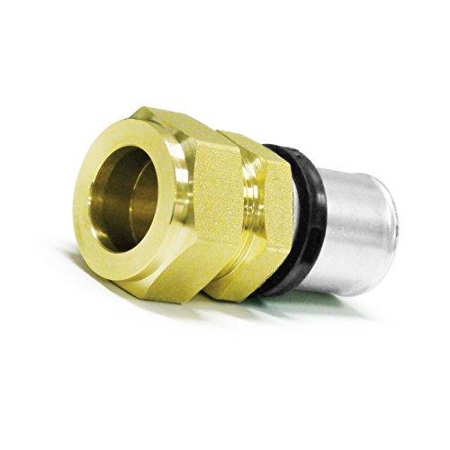 Pipetec Pressfitting Verschraubung Übergang 20x2 mm Verbundrohr auf 18mm Kupferrohr TH Kontur, DVGW, TH-Profil