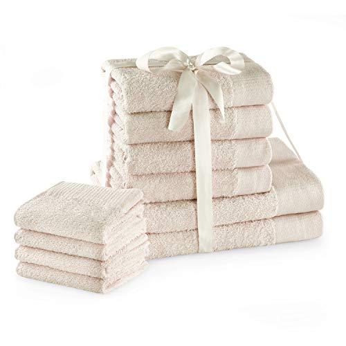 AmeliaHome Handtuch Set Ecru 4 Gästetücher 30x50 cm 4 Handtücher 50x100 cm und 2 Duschtücher 70x140 cm 100% Baumwolle Qualität Saugfähig Creme Amari