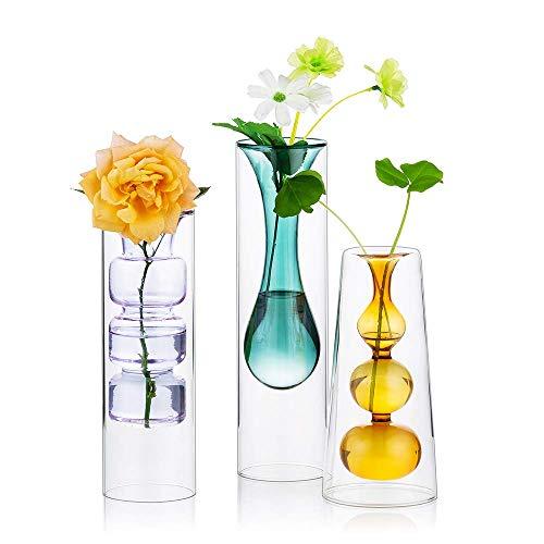 MZDJDM Jarrón de Cristal Coloreado, Juego de 3 jarrones de Cristal de Doble Pared, decoración de Cristal Creativa Decorativa Ideal para mesas en Bodas, Eventos, Fiestas, centros de Mesa Florales
