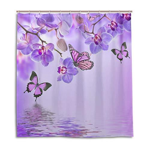 CPYang Duschvorhänge Blumen Orchidee Schmetterling Wasserdicht Schimmelresistent Badevorhang Badezimmer Home Decor 168 x 182 cm mit 12 Haken