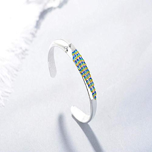 Pulseras de plata para mujer de estilo nacional Sutra pavo real con memoria Cloisonne S2